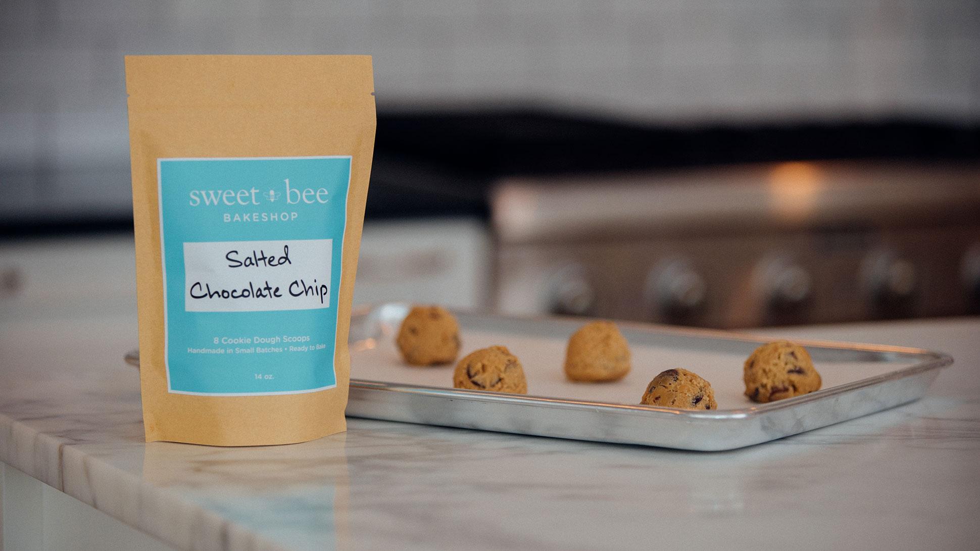 Bag of Sweet Bee Bakeshop Salted Chocolate Chip Flavor Frozen Cookie Dough