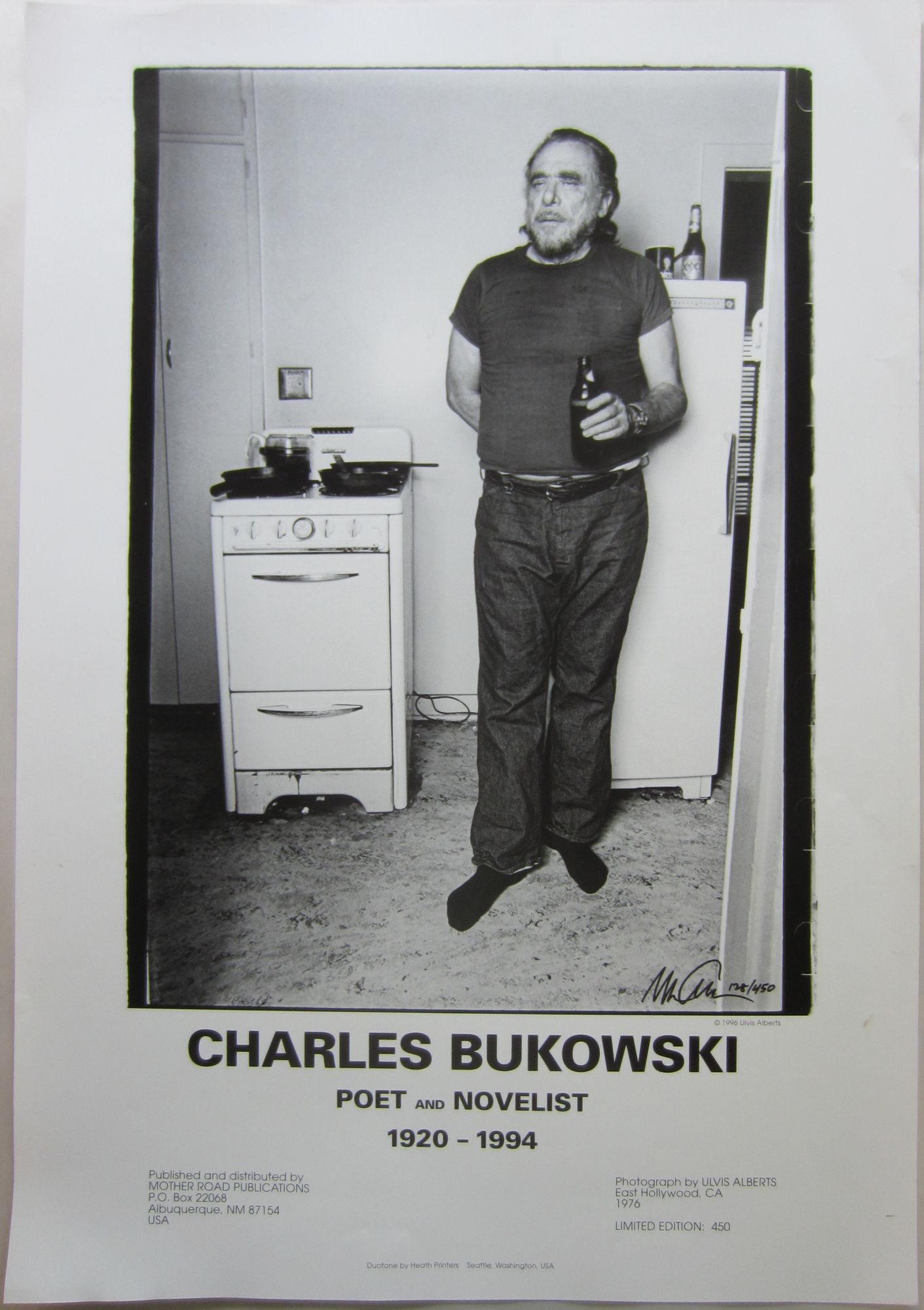 poster printing a photo of bukowski in his east hollywood apartment 1976 by chalres bukowski ulvis alberts on skyline books