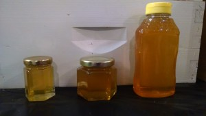 We have 3 oz, 6oz and 1lb jar sizes available. the 3 & 6oz. are glass and the 1lb is a plastic squeeze bottle.