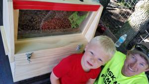 Oliver loves visiting the bees with Mark!