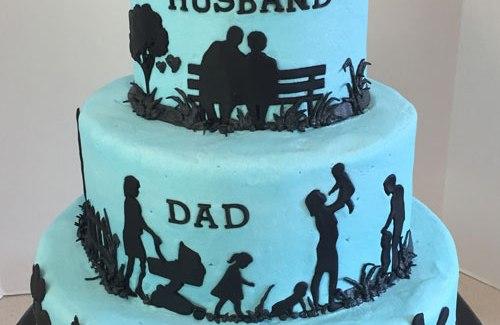 Husband Dad Grandpa Silhouette Birthday Cake