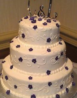 Monogram Purple and White Weddingcake