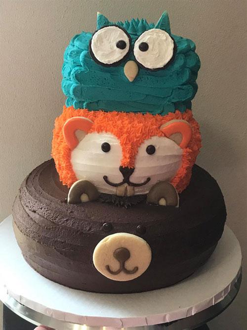 Wilderness Cake Owl Fox Bear