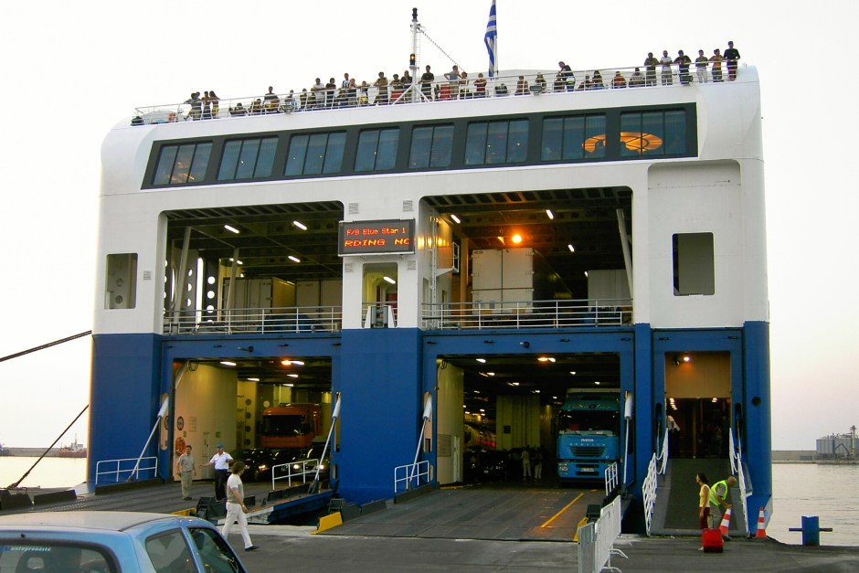 Boarding the ferry to Greece