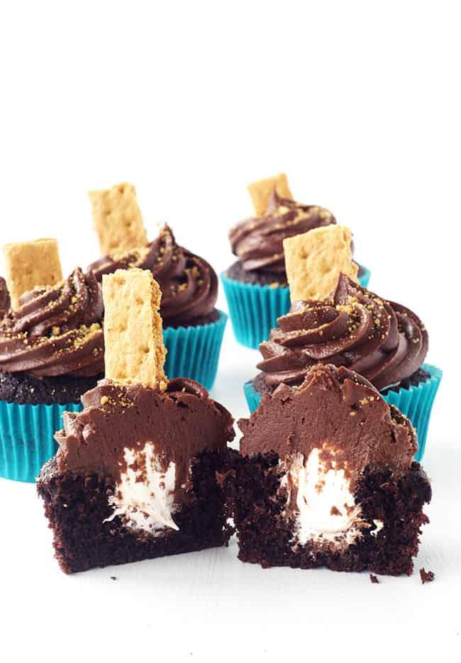 Smores Marshmallow Chocolate Cupcakes