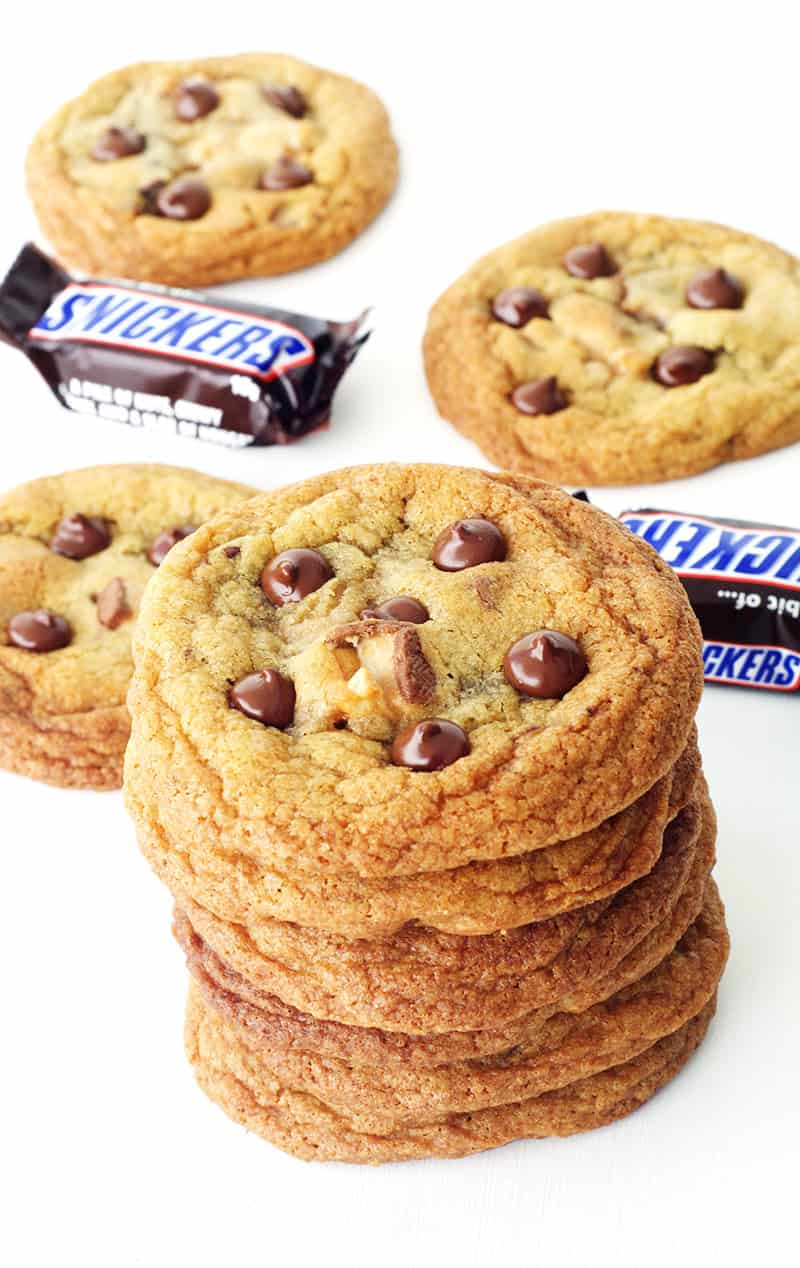 Seriously Crispy Chewy Snickers Cookies