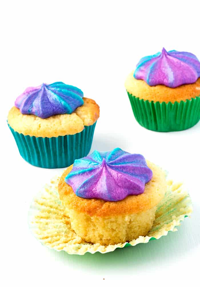 Vanilla Cupcakes with Rainbow Frosting