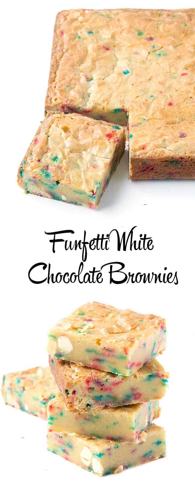 Funfetti White Chocolate Brownies | Sweetest Menu