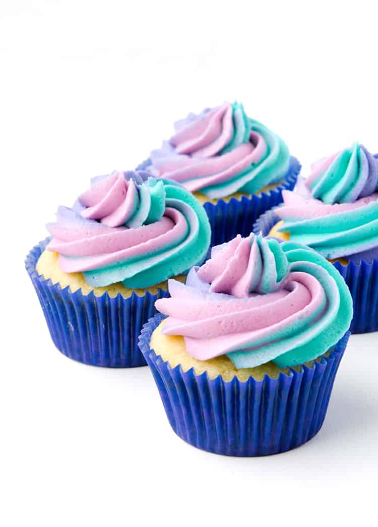 Cotton Candy Cupcakes with swirled rainbow frosting