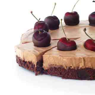 Chocolate Cherry Brownie Mousse Pie