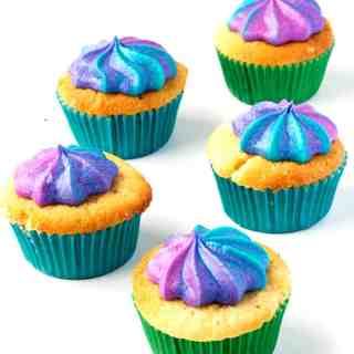 Vanilla Cupcakes with Swirled Rainbow Frosting