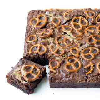 Nutella Caramel Pretzel Brownies