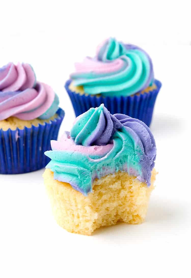 Cotton Candy Cupcakes with rainbow frosting