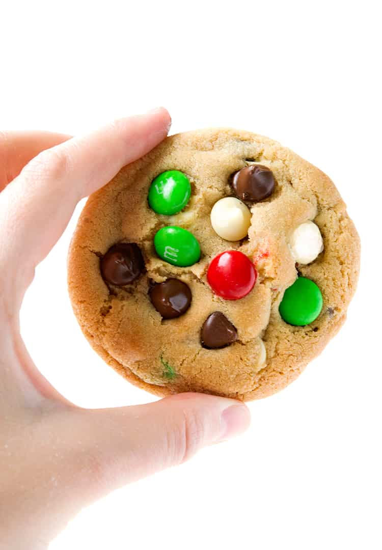 M&M Christmas Cookies with chocolate chips and macadamias