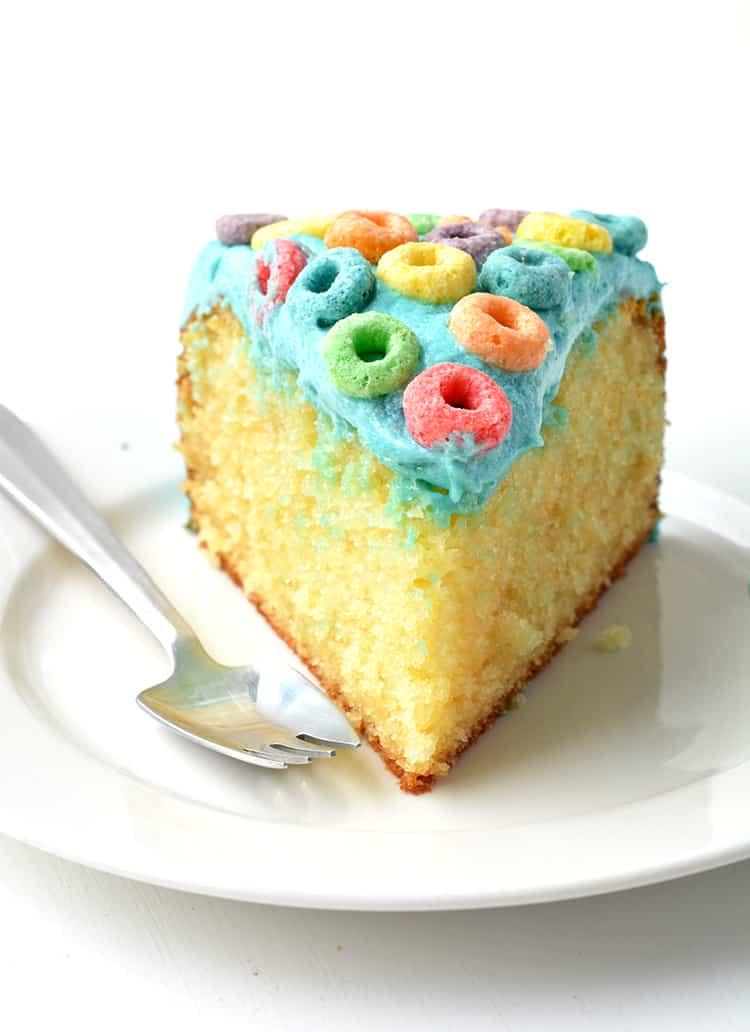 A slice of Froot Loop Cereal Milk Cake