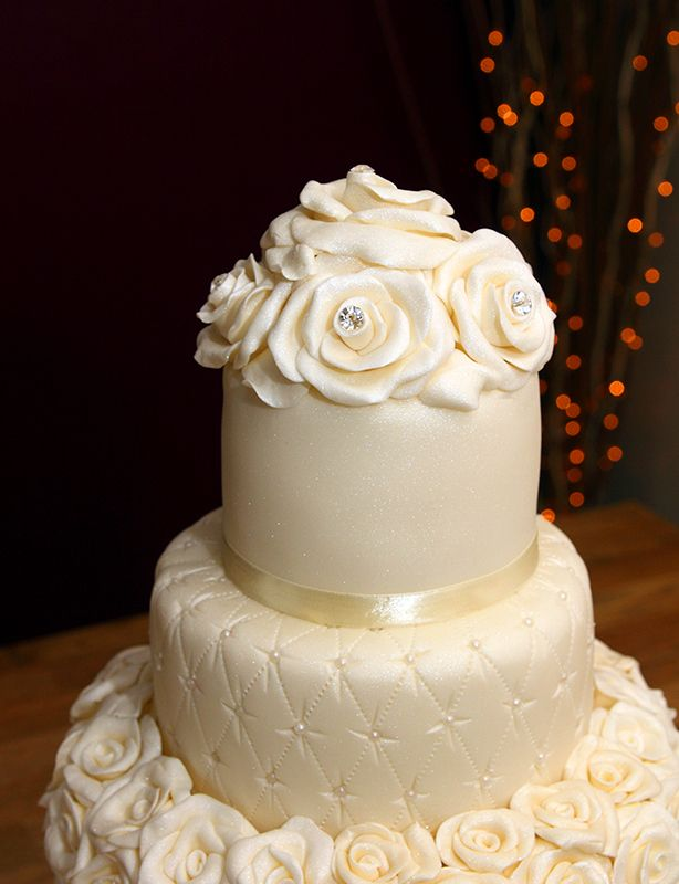 Quilted Wedding Cake With Handmade Fondant Roses Edible