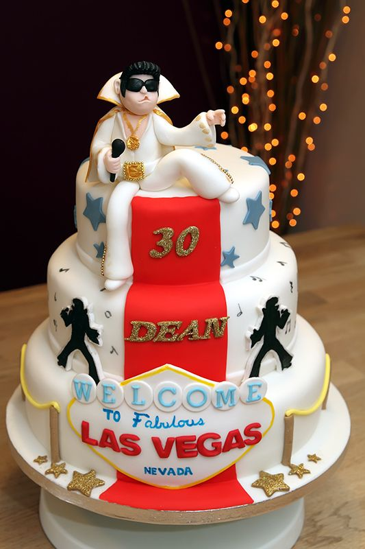 Elvis In Las Vegas Cake With Fondant Decoration And