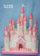 2 Tier Square White Castle with Pink trim Girls Christening Cake