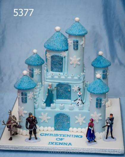 2 Tier Square Frozen Castle, Boys Christening Cake