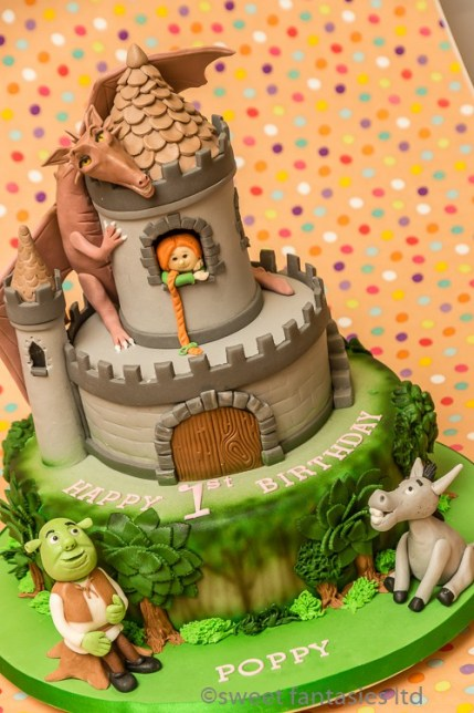 3 Tier Shrek & Fiona, Girls Birthday Cake