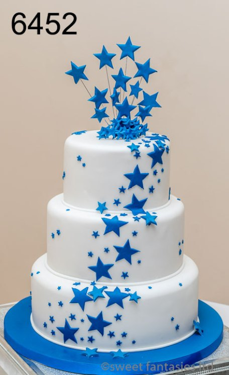 3 tier round wedding cake with stars - sweet fantasies