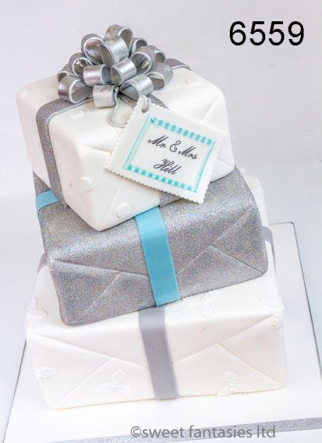 3 Tier Square White & Silver Wedding Cake