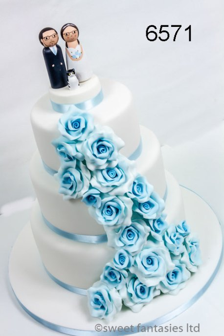 3 Tier Round Wedding Cake with Pale Blue Roses
