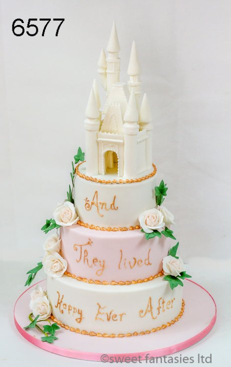 3 Tier Round Wedding Cake with Hand Made Castle Topper