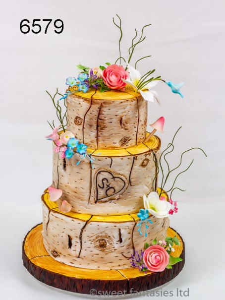 3 Tier Round Wedding Cake with Log Effect Finish