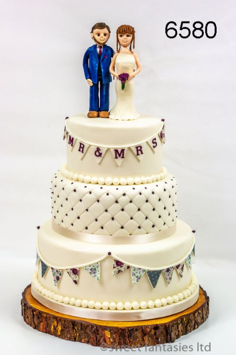 3 Tier Round Wedding Cake with Hand Made Bride & Groom Topper