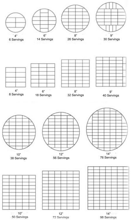 Round & Square Cake Cutting Guide