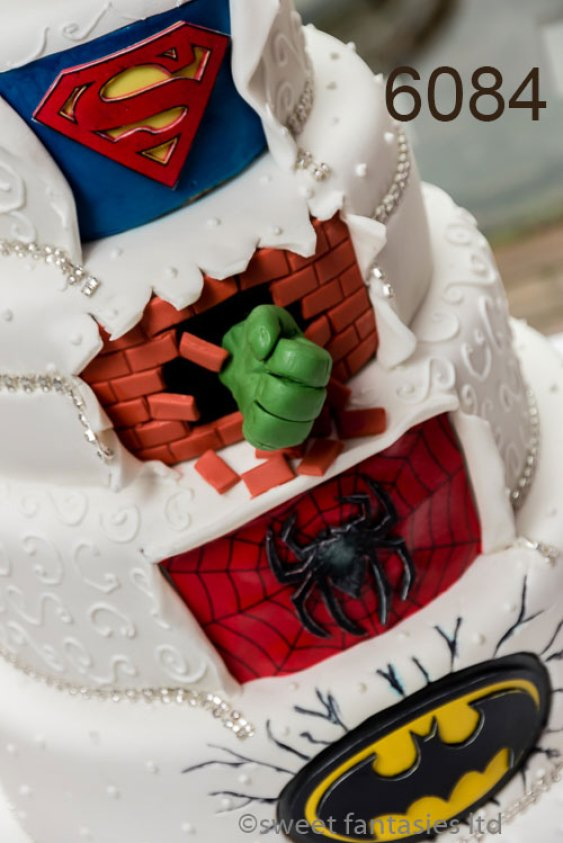 Wedding Cake. Superman, Spiderman and Batman Logo, Plus The Hulks Fist
