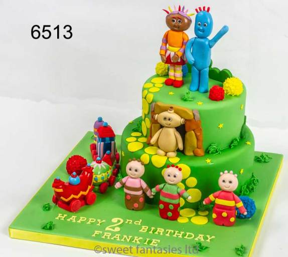 2 Tier Boys Birthday Cake, with Upsy Daisy, Iggle Piggle, Makka Pakka, Tombliboos & The Ninky Nonk Train