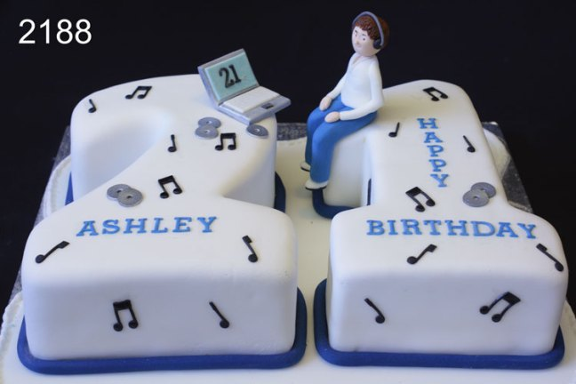 number 21 boys birthday cake