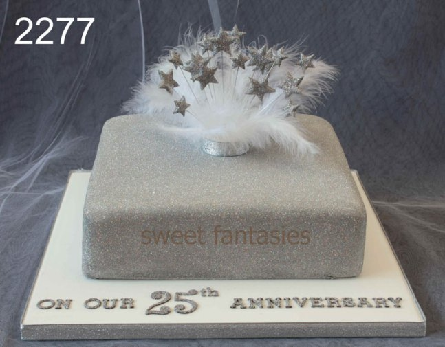Silver Glitter Covered Anniversary Cake with Silver Stars