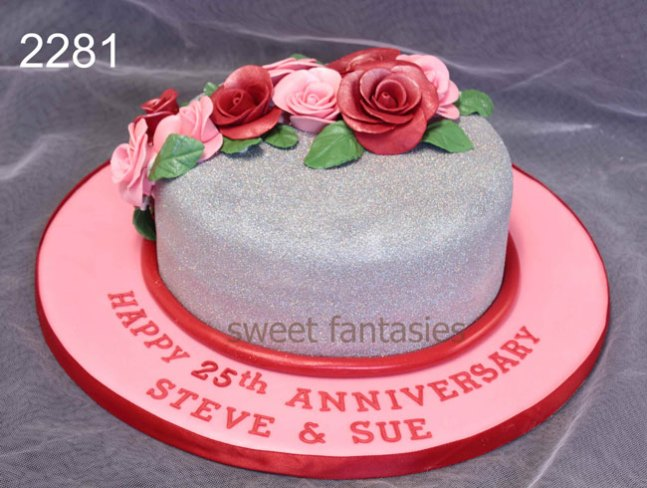 Pink & Silver Glitter 25th Wedding Anniversary Cake