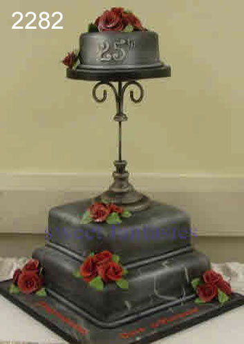 Grey & Black Marbled Anniversary Cake with Red Roses