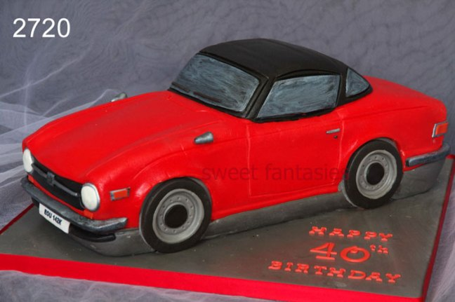 3D Red Sports Car Birthday Cake