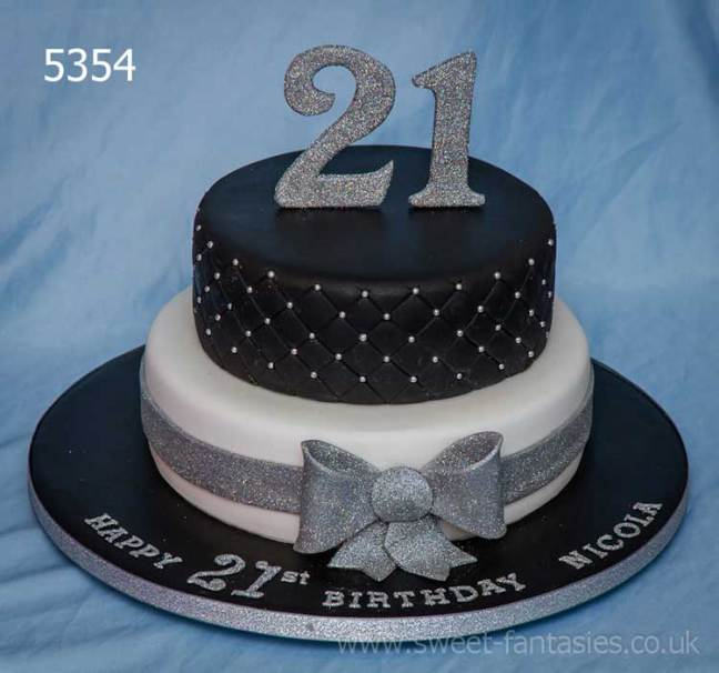 Black & White 2 Tier - girls 21st birthday