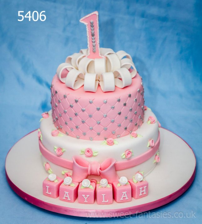 2 Tier pink & white girls christening cake - sweet fantasies