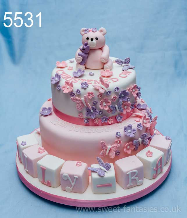2 Tier with Teddy & Blocks - Girls Christening Cakes - sweet fantasies