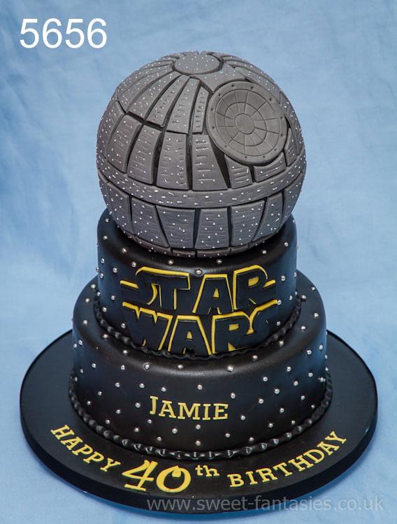 3 tier star wars, death star birthday cake