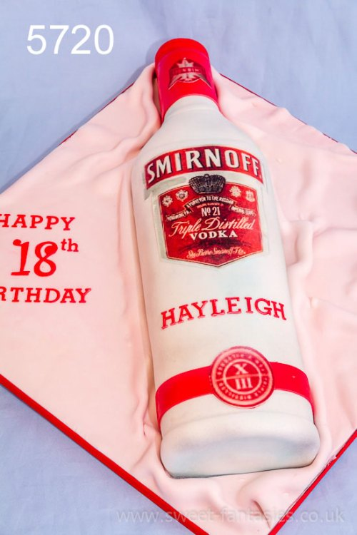 3D Vodka Bottle - 3D Boot - girls 18th birthday cake