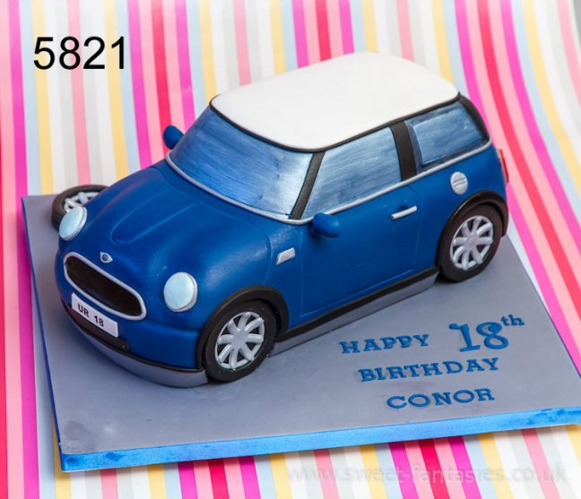 3D Blue Mini Car Birthday Cake