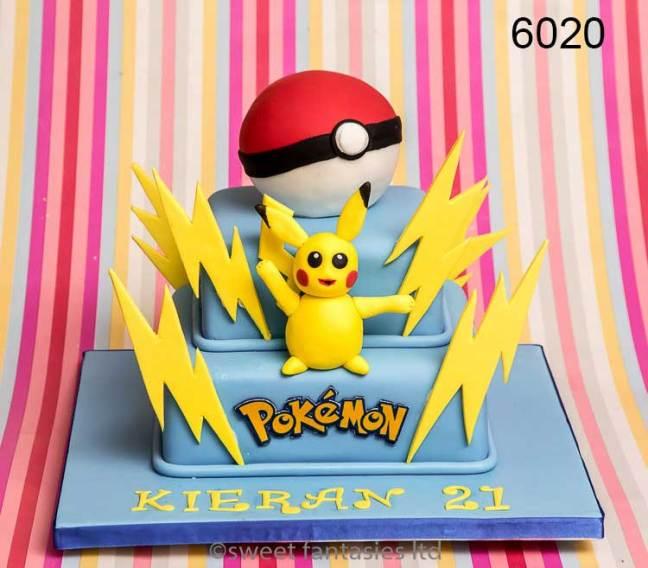 2 tier pokemon themed 21st birthday cake