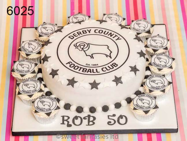 cupcake with Football Team Badge & Birthday Cake