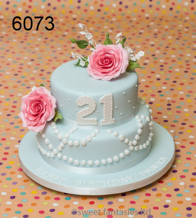 2 Tier with Roses - Girls 21st birthday cake