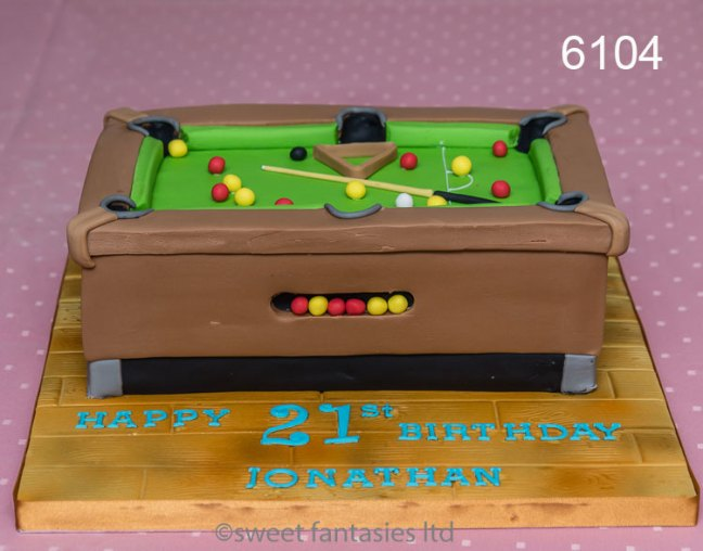 3D Pool Table 21st Birthday Cake