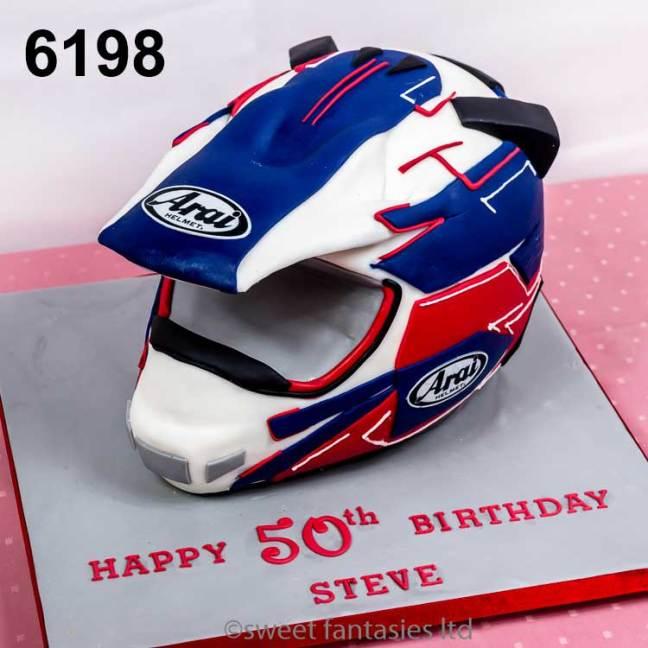 3D Motor Bike Helmet, 50th Birthday Cake