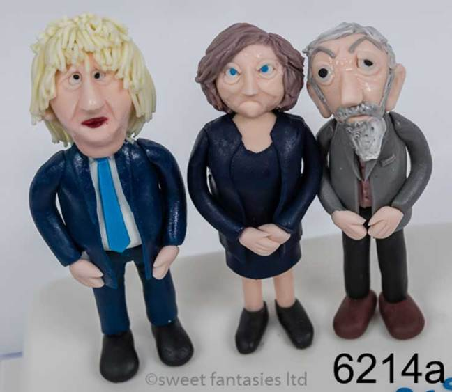 sugar paste models of Boris Johnson,, theresa may & jeremy corbin